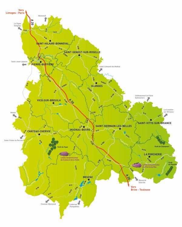 Carte Touristique Haute Vienne.La Carte Du Territoire Briance Sud Haute Vienne Office De